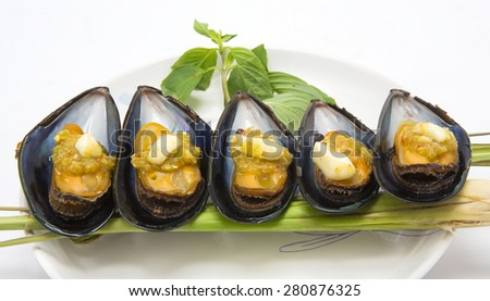 Seafood  Chilean mussel dishes - stock photo