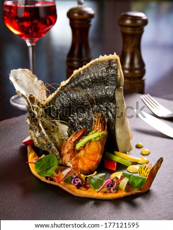 Seafood dish - stock photo