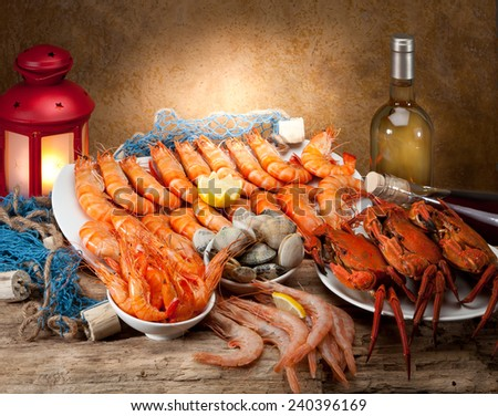 Seafood eatery with sailor props - stock photo