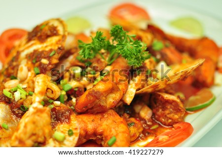 Seafood fried chili paste.