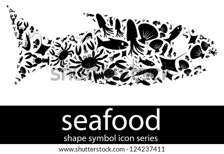 Seafood icon symbols composed in the shape of a fish