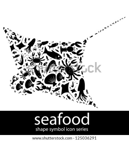 Seafood icon symbols composed in the shape of a ray fish - stock photo