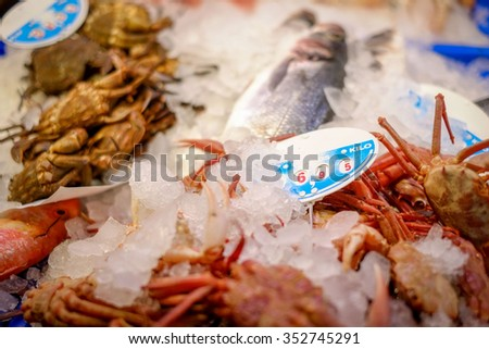 Seafood in fish market - stock photo