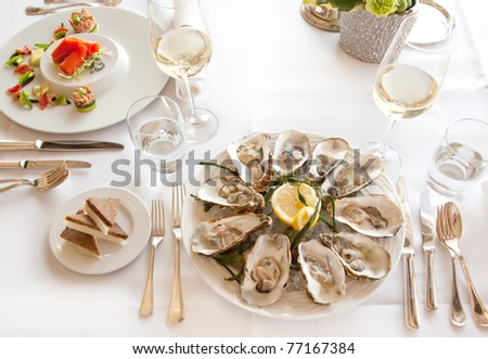 seafood in luxury decoration
