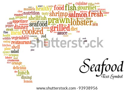 Seafood info-text(cloud word) composed in the shape of a prawn on white background - stock photo