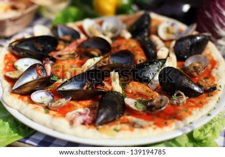 Seafood italian pizza with mussel