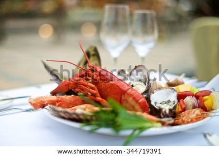 Seafood lobster on table in restaurant buffet - stock photo