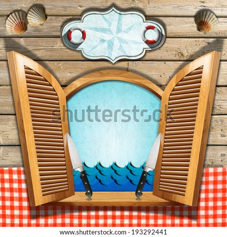 Seafood Menu on Wooden Window / Restaurant seafood menu with wooden window and open shutters, two kitchen knives, shells, waves, empty label. On wooden wall and table cloth - stock photo