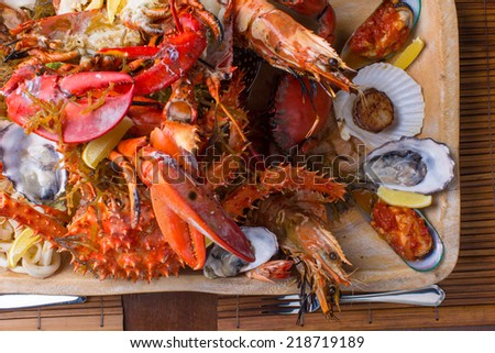 Seafood mix platter close up - stock photo