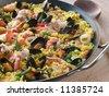 Seafood Paella in a Paella Pan - stock photo