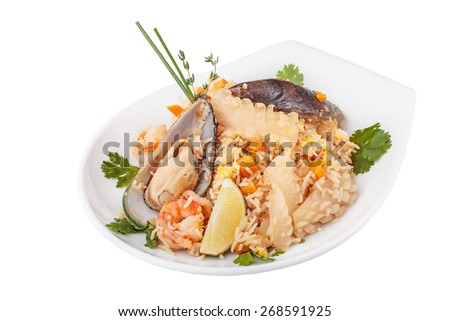 Seafood Paella on a white isolated background
