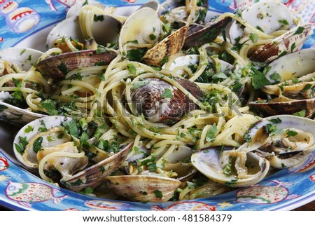 Seafood pasta on the dinner plate.