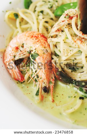 seafood pasta with shrimp close-up - stock photo