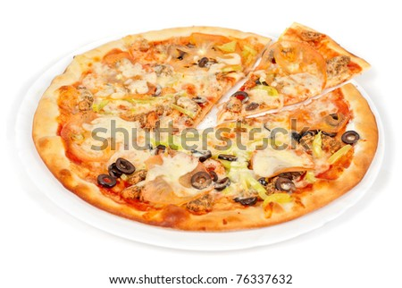 seafood pizza closeup with salmon, shrimps, tomato, pepper, olive and mozzarella cheese on a white background - stock photo