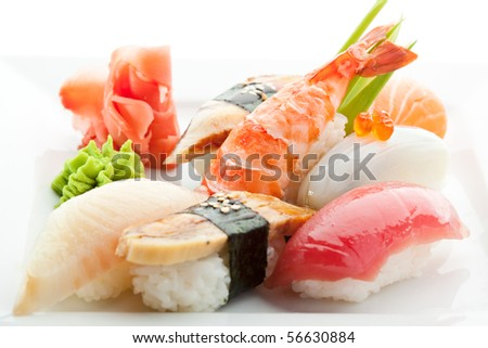 Seafood Plate - Sushi with Wasabi and GInger - stock photo