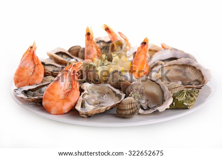 seafood platter isolated on white - stock photo