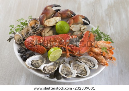 seafood platter with lobster - stock photo