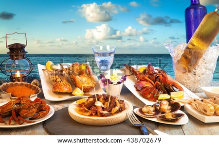 seafood restaurant facing the sea - stock photo