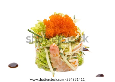 seafood salad at a restaurant on a white background - stock photo