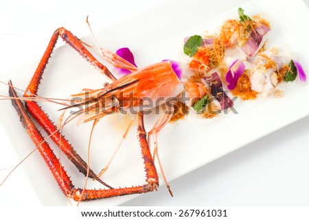 Seafood salad in white dish. - stock photo
