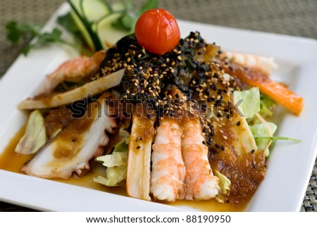 seafood salad with sauce