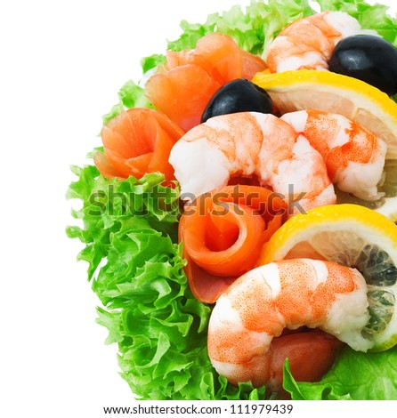 Seafood - Shrimp and Salmon. Garnished with Fresh Raw Salad Leaf. - stock photo
