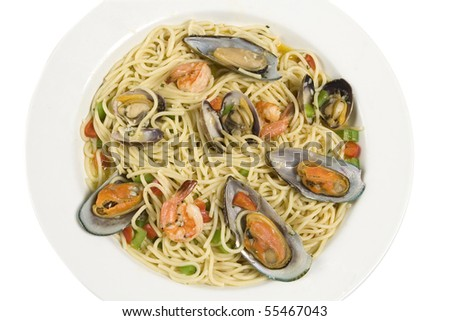 Seafood spaghetti with Clam & Shrimp & Green mussels - stock photo