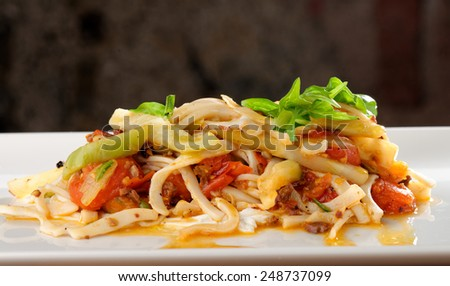 Seafood Spaghetti with squid - stock photo