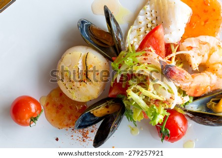 Seafood Spicy Salad - stock photo