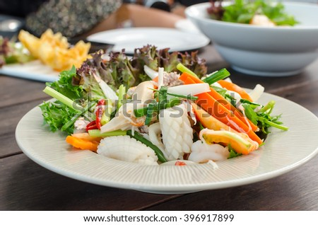 Seafood spicy salad, Thai famous spicy salad