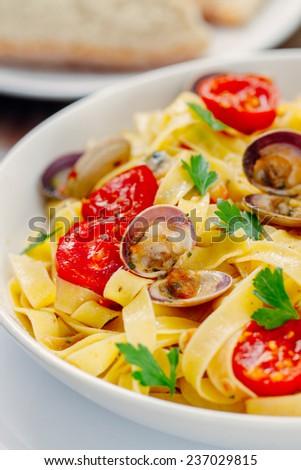 Seafood Tagliatelle - stock photo