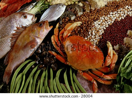 Seafood with beans - stock photo