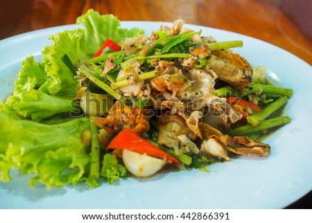 Seafood with black pepper - stock photo