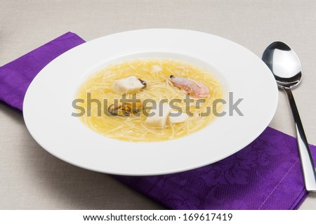 Seafood with noodles soup - stock photo