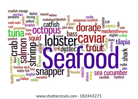 Seafood word cloud concept image - over 80 items