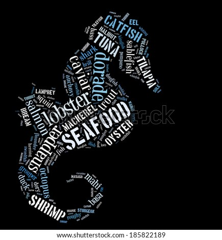 Seafood word cloud in shape of prawn - stock photo