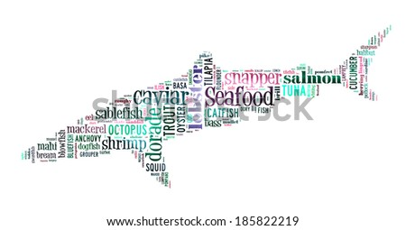 Seafood word cloud in shape of shark - stock photo