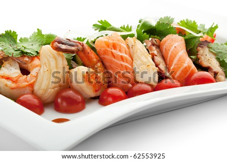 Seafoods with Vegetables and Herbs - stock photo