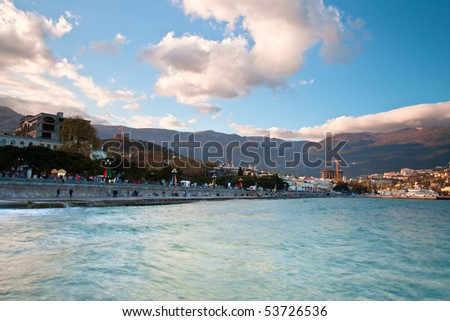seafront at the sunset.Yalta, Crimea, Ukraine