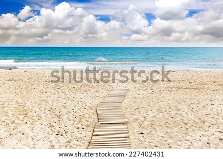 Seafront, beach,coast in Spain. Suburb of Barcelona, Catalonia - stock photo