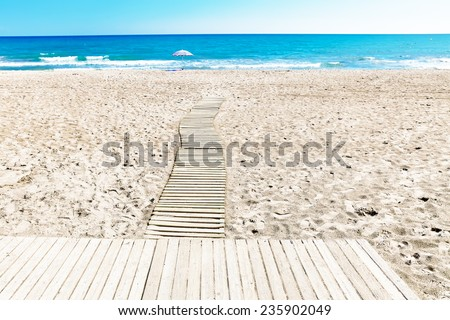 Seafront, beach,coast in Spain. Suburb of Barcelona, Catalonia - stock photo