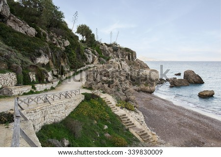 Seafront between Rhodes city and Ialysos early in the morning. Rhodes Island, Greece. - stock photo