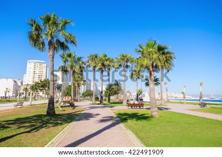 Seafront in Tangier, Morocco. Tangier is a major city in northern Morocco. Tangier located on the North African coast at the western entrance to the Strait of Gibraltar. - stock photo