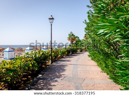 Seafront promenade along El Duque beach. Tenerife, Canary Islands. Spain