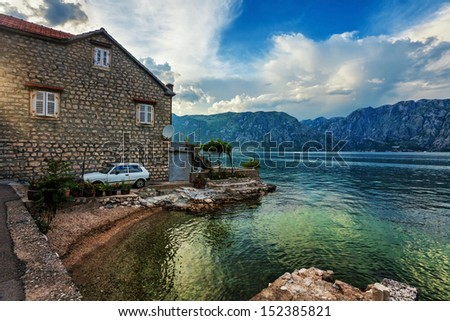 seafront with sea and mountain views.  Montenegro - stock photo