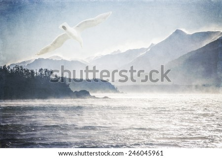 Seagull flying over rough sea on a windy day in Southeast Alaska processed with texture overlays for an artistic look. - stock photo