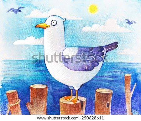Seagull hand drawn watercolor Illustration - stock photo