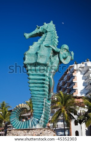 Seahorse sculpture on Los Muertos beach, Puerto Vallarta, Mexico - stock photo