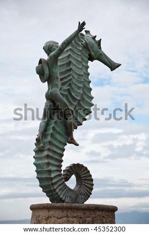 Seahorse sculpture  on the Malecon, Puerto Vallarta, Mexico - stock photo