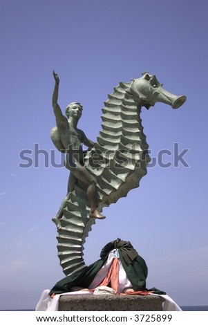 Seahorse Statue in Puerto Vallarta - stock photo